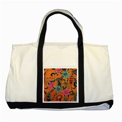 Colorful The Beautiful Of Art Indonesian Batik Pattern Two Tone Tote Bag by Simbadda