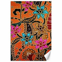 Colorful The Beautiful Of Art Indonesian Batik Pattern Canvas 12  X 18   by Simbadda