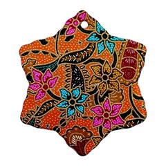 Colorful The Beautiful Of Art Indonesian Batik Pattern Snowflake Ornament (two Sides) by Simbadda