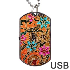 Colorful The Beautiful Of Art Indonesian Batik Pattern Dog Tag Usb Flash (one Side) by Simbadda