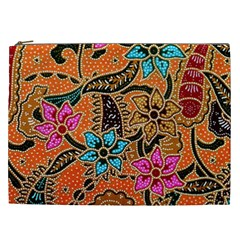 Colorful The Beautiful Of Art Indonesian Batik Pattern Cosmetic Bag (xxl)  by Simbadda