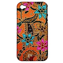 Colorful The Beautiful Of Art Indonesian Batik Pattern Apple Iphone 4/4s Hardshell Case (pc+silicone) by Simbadda