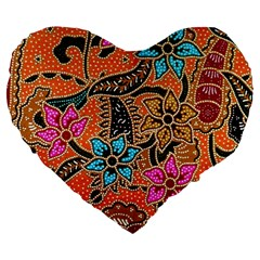 Colorful The Beautiful Of Art Indonesian Batik Pattern Large 19  Premium Heart Shape Cushions by Simbadda