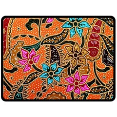 Colorful The Beautiful Of Art Indonesian Batik Pattern Double Sided Fleece Blanket (large)  by Simbadda
