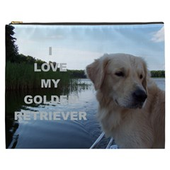 Golden Retriver Love W Pic Cosmetic Bag (XXXL)  by TailWags