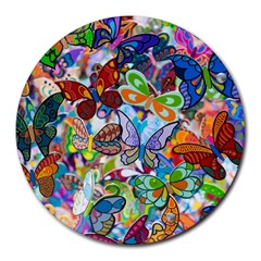 Color Butterfly Texture Round Mousepads by Simbadda