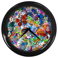 Color Butterfly Texture Wall Clocks (black) by Simbadda
