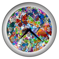 Color Butterfly Texture Wall Clocks (silver)  by Simbadda