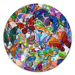 Color Butterfly Texture Magnet 5  (round) by Simbadda