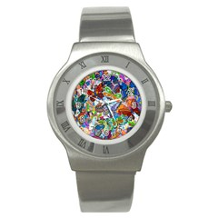 Color Butterfly Texture Stainless Steel Watch by Simbadda