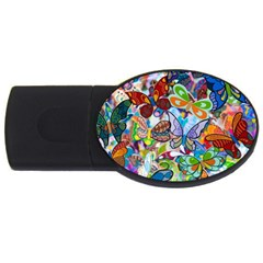 Color Butterfly Texture Usb Flash Drive Oval (4 Gb) by Simbadda