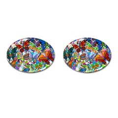 Color Butterfly Texture Cufflinks (oval) by Simbadda