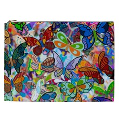 Color Butterfly Texture Cosmetic Bag (xxl)  by Simbadda