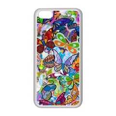 Color Butterfly Texture Apple Iphone 5c Seamless Case (white) by Simbadda