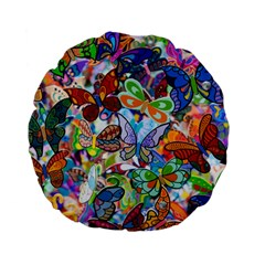 Color Butterfly Texture Standard 15  Premium Flano Round Cushions by Simbadda
