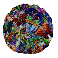 Color Butterfly Texture Large 18  Premium Flano Round Cushions by Simbadda