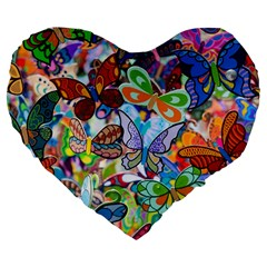 Color Butterfly Texture Large 19  Premium Flano Heart Shape Cushions by Simbadda