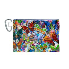 Color Butterfly Texture Canvas Cosmetic Bag (m) by Simbadda