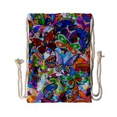 Color Butterfly Texture Drawstring Bag (small) by Simbadda
