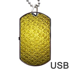 Patterns Gold Textures Dog Tag Usb Flash (one Side) by Simbadda