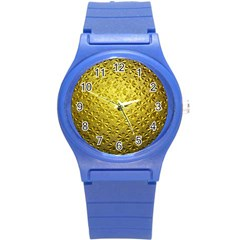 Patterns Gold Textures Round Plastic Sport Watch (s) by Simbadda