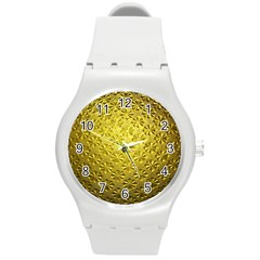 Patterns Gold Textures Round Plastic Sport Watch (m) by Simbadda