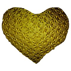 Patterns Gold Textures Large 19  Premium Heart Shape Cushions by Simbadda