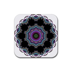 Fractal Lace Rubber Square Coaster (4 Pack)  by Simbadda