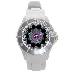 Fractal Lace Round Plastic Sport Watch (l) by Simbadda