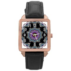 Fractal Lace Rose Gold Leather Watch  by Simbadda