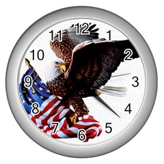 Independence Day United States Wall Clocks (silver)  by Simbadda