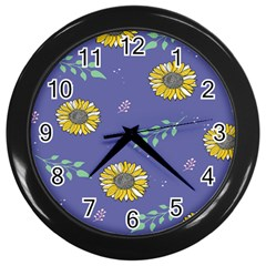 Floral Flower Rose Sunflower Star Leaf Pink Green Blue Yelllow Wall Clocks (black) by Alisyart