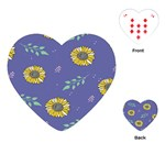 Floral Flower Rose Sunflower Star Leaf Pink Green Blue Yelllow Playing Cards (Heart)  Front