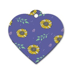 Floral Flower Rose Sunflower Star Leaf Pink Green Blue Yelllow Dog Tag Heart (two Sides) by Alisyart