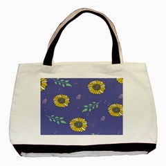 Floral Flower Rose Sunflower Star Leaf Pink Green Blue Yelllow Basic Tote Bag (two Sides) by Alisyart