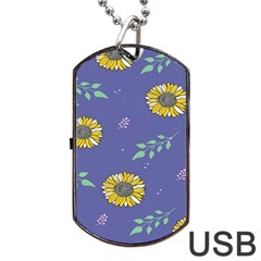 Floral Flower Rose Sunflower Star Leaf Pink Green Blue Yelllow Dog Tag Usb Flash (one Side) by Alisyart