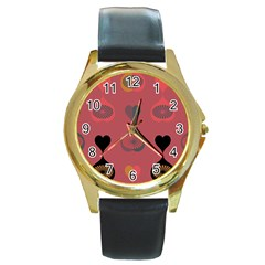 Heart Love Fan Circle Pink Blue Black Orange Round Gold Metal Watch by Alisyart