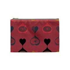 Heart Love Fan Circle Pink Blue Black Orange Cosmetic Bag (medium)  by Alisyart