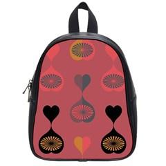 Heart Love Fan Circle Pink Blue Black Orange School Bags (small)  by Alisyart