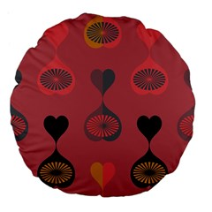 Heart Love Fan Circle Pink Blue Black Orange Large 18  Premium Flano Round Cushions by Alisyart