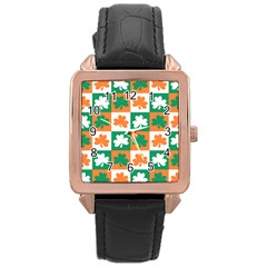 Ireland Leaf Vegetables Green Orange White Rose Gold Leather Watch  by Alisyart