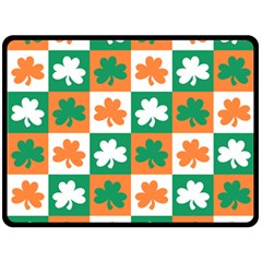 Ireland Leaf Vegetables Green Orange White Double Sided Fleece Blanket (large)  by Alisyart