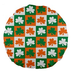 Ireland Leaf Vegetables Green Orange White Large 18  Premium Flano Round Cushions by Alisyart