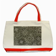 Flower Floral Rose Sunflower Black White Classic Tote Bag (red)