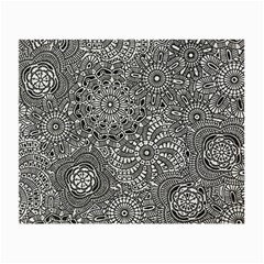 Flower Floral Rose Sunflower Black White Small Glasses Cloth (2 Side) by Alisyart