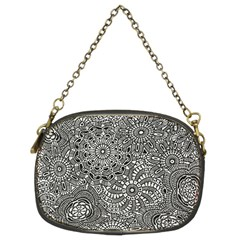 Flower Floral Rose Sunflower Black White Chain Purses (two Sides)  by Alisyart