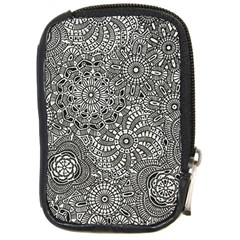 Flower Floral Rose Sunflower Black White Compact Camera Cases by Alisyart