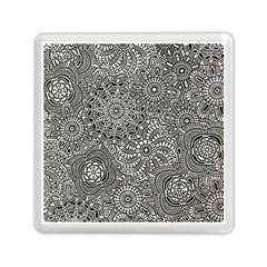 Flower Floral Rose Sunflower Black White Memory Card Reader (square)  by Alisyart