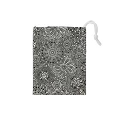 Flower Floral Rose Sunflower Black White Drawstring Pouches (small)  by Alisyart