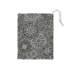 Flower Floral Rose Sunflower Black White Drawstring Pouches (medium)  by Alisyart
